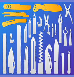 set of multifunction knife elements pocket knife vector image