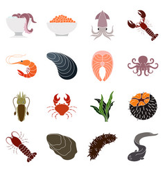 Collection of colorful seafood icons vector