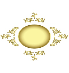Golden frame with golden tracery vector