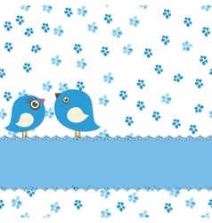 Greeting card with two cute birds on painting vector