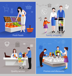 Supermarket people set vector