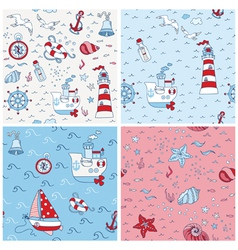 Nautical sea backgrounds - set of seamless pattern vector