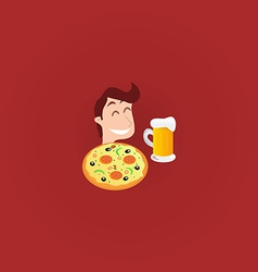 Young man with pizza and pint of beer vector