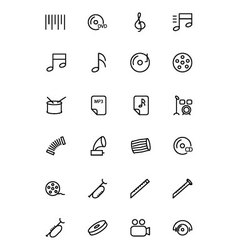 Music line icons 2 vector