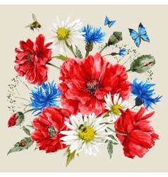 Vintage watercolor bouquet of wildflowers poppies vector