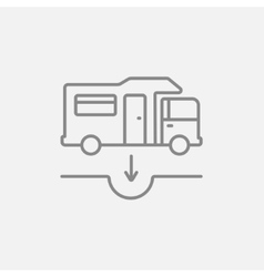 Motorhome and sump line icon vector image
