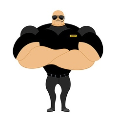 Big and strong security guard man with big muscles vector