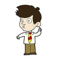 Comic cartoon boy asking question vector