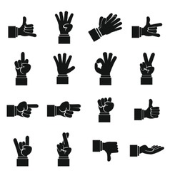 Hand gesture icons set simple ctyle vector