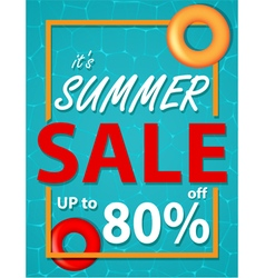 Summer sale banner with sea background vector