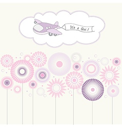 baby girl announcement card with airplane vector image vector image