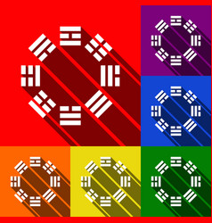Bagua sign set of icons with flat shadows vector