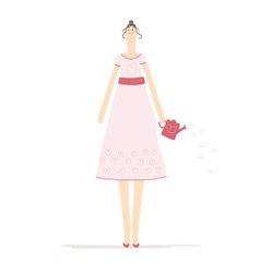 Beautiful woman with watering can sketch for your vector image vector image