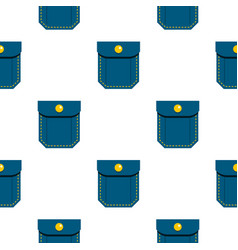 Blue pocket with yellow button pattern flat vector
