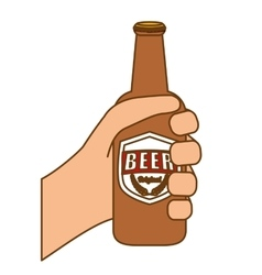 bottles of beer in the hand icon design vector image