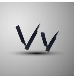 calligraphic hand-drawn marker or ink letter V vector image