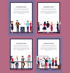 Corporate party set of four on vector