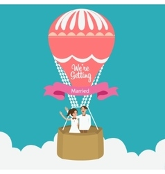 Couple we are married flying hot air balloon vector