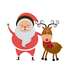 cute santa claus with reindeer christmas image vector image vector image