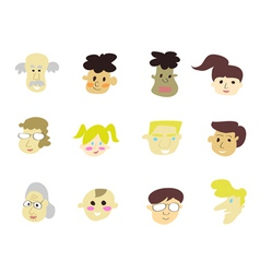 doodle cartoon people icons vector image vector image