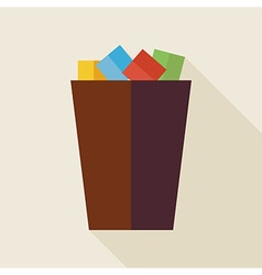 Flat Business Office Trash Bucket with long Shadow vector image