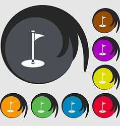 Golf icon sign symbols on eight colored buttons vector
