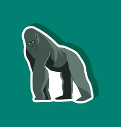 gorilla paper sticker on stylish background vector image vector image