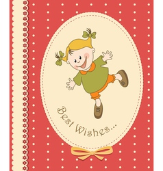 Happy kid greeting card vector image