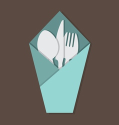 Knife Fork Spoon Set In Table Napkin vector image