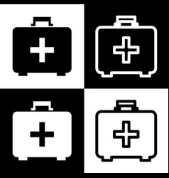 Medical first aid box sign black and vector