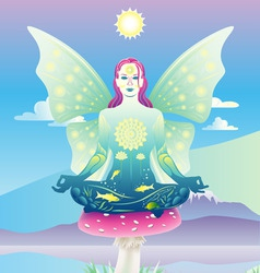 meditating fairy vector image