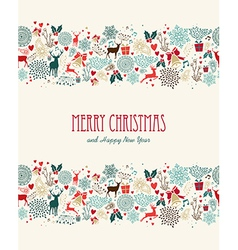 Merry Christmas vintage seamless pattern vector image