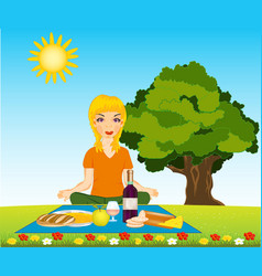 morning meal on nature vector image