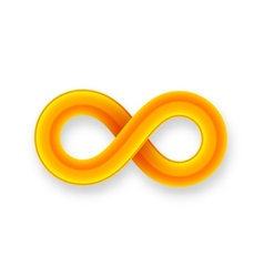 Orange infinity symbol icon from glossy wire with vector