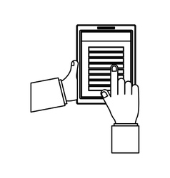 Person hands with tech table vector