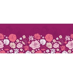 Purple pink flower silhouettes horizontal seamless vector