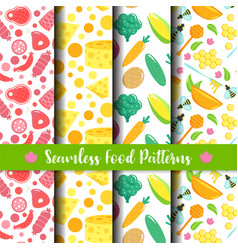 Seamless pattern with food healthy vegetables vector