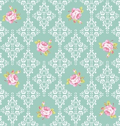 Seamless pattern with pink roses and damask vector