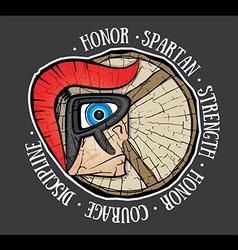 Spartan warrior profile textured shield stamp vector