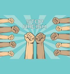 Stop racism with a lot of people hand vector