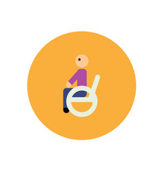 stylish icon in color circle man wheelchair vector image