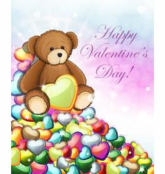 teddy bear with hearts vector image vector image