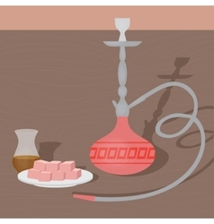 Traditional oriental hookah with turkish tea and vector