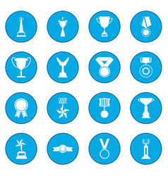 trophy and awards icon blue vector image