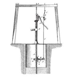 Vent controlling mechanism for pumps vintage vector