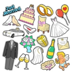 Wedding just married stickers patches badges vector