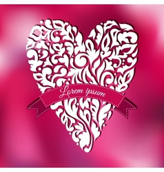 White lace ornamental heart greeting card vector
