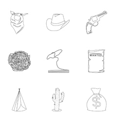 Wild west set icons in outline style Big vector image