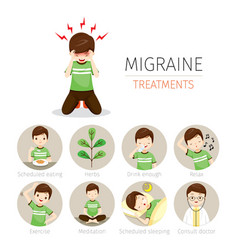 Young man with migraine treatment icons set vector