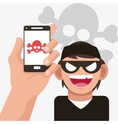 Cyber security system smartphone hacker design vector